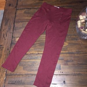 Zara girls burgundy leggings